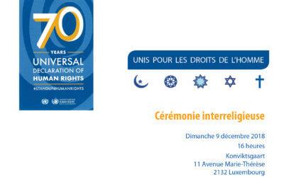 Cérémonie interreligieuse pour célébrer les 70 ans de la Déclaration universelle des droits de l'homme
